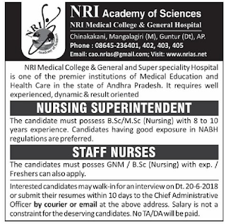 Guntur NRI Medical College & General Hospital Staff Nurse, Nursing Superintendent Jobs Recruitment Notification 2018