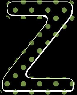 Alfabeto Blanco con Lunares Verdes.