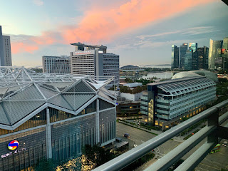 View from room at sunrise, JW Marriott Singapore Beach Road, 2021