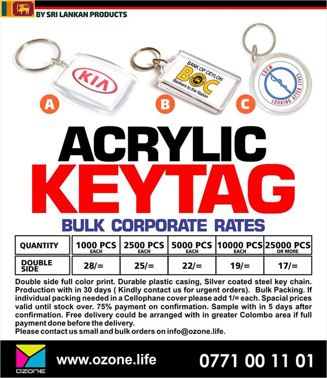 Acrylic Key Tag Printing with your logo - Bulk corporate Rates
