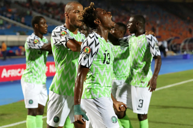Super Eagles youngster Samuel Chukwueze celebrates scoring against South Africa in the quarterfinals of 2019 AFCON