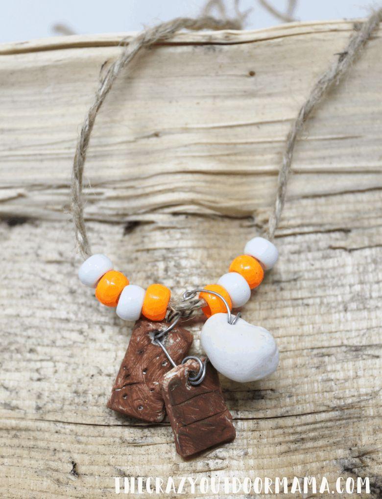campfire necklace craft  - summer camp craft for kids