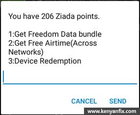 ziada points menu