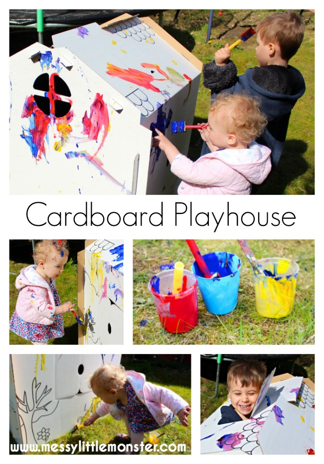 Paint or colour your own cardboard playhouse.  A fun outdoor art idea for kids. This messy summer art activity for toddlers and preschoolers is great for imaginative play. Have fun painting your own cardboard house or fort!