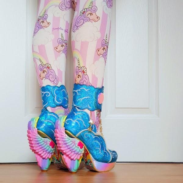 rainbow angel winged heeled shoes in vivid blue on feet