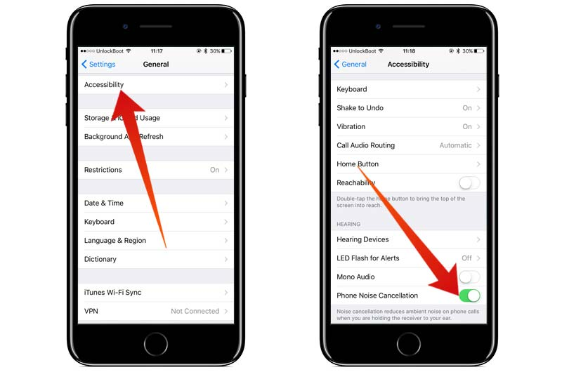 enable noise cancellation on iphone