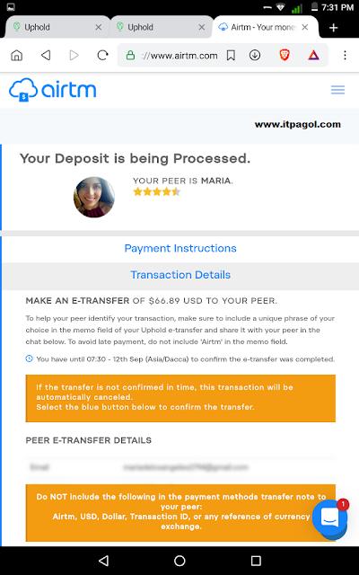 Airtm Peer E-Transfer Details.