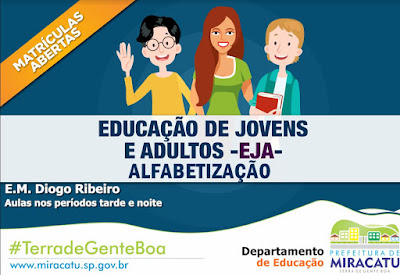 Departamento de Educação de Miracatu abre inscrições para EJA 2020