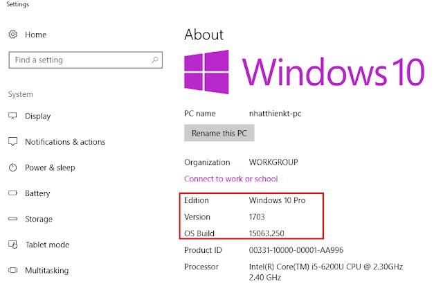 Hướng dẫn cập nhật Updates Windows 10 Version 1703