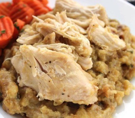 EASY SLOW COOKER CHICKEN AND STUFFING #dinner #crockpot