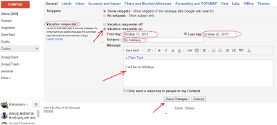 How to set auto reply message in G mail