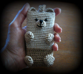 crochet bear cellphone case