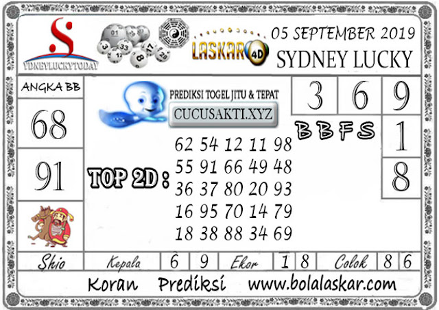 Prediksi Sydney Lucky Today LASKAR4D 05 SEPTEMBER 2019