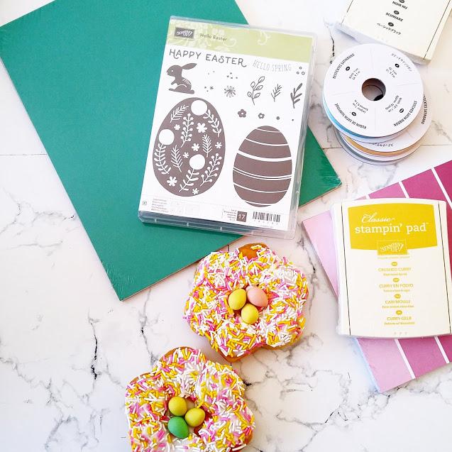 Biscuits, meringues, bonbons pour Pâques présentés avec Stampin'Up