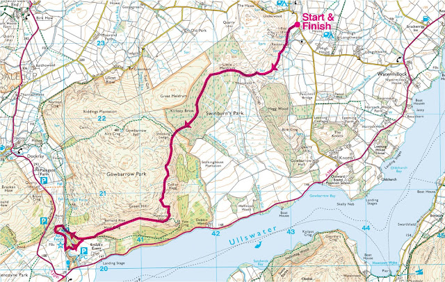 map, ullswater, aira force, lake district, walk, photos, route, short, best view, hike