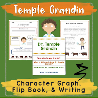 Learn about Dr. Temple Grandin with these fun reading activities. Included is the story of Temple Grandin, a character graphic organizer, a flip book comprehension activity, writing prompts, and more.