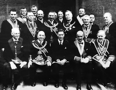King George VI, former Grand Master Mason of the Grand Lodge of Scotland, with Scottish Freemasons