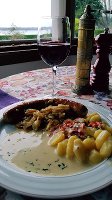 Poached Bratwurst in Beer with Gnocchis and Cambozola Sauce