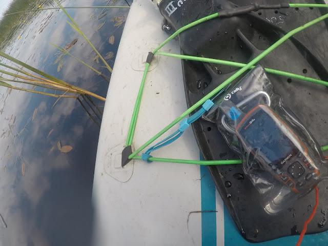 Käsi-GPS-laite muovipussiin pakattuna SUP-laudan päällä vedessä