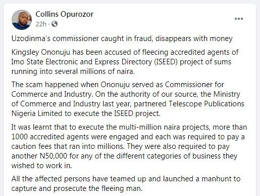 Imo State: Hope Uzodinma's Commissioner Accused of Fraud