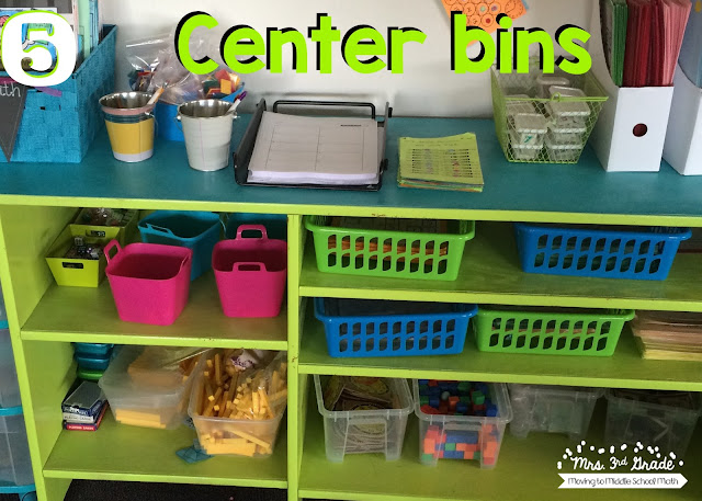 Having different bins for centers is a great way to keep everything organized and easy to find for students and for yourself.  This way everything is put exactly where it is supposed to be, and everyone can get to work quickly!