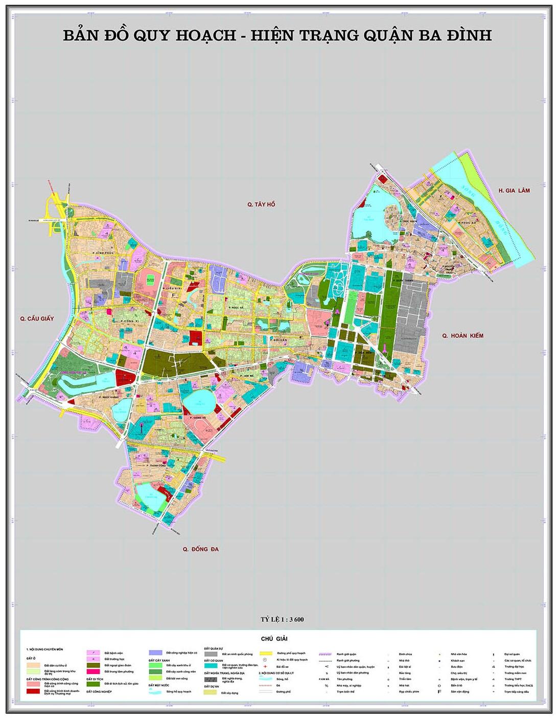 Bản đồ quy hoạch quận Ba Đình đến năm 2020