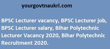 Bihar BPSC Lecturer Jobs Recruitment Online Form 2020