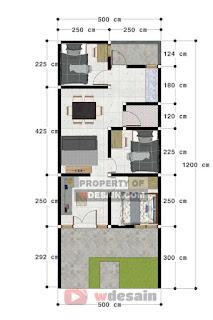 denah rumah 5x12 3 kamar tidur 1 lantai