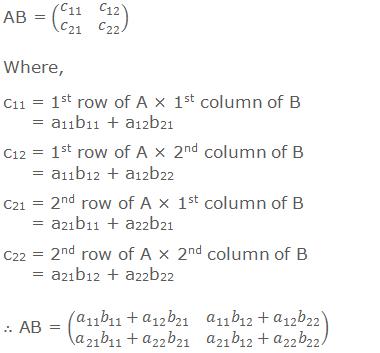 AB = (■(c_11&c_12@c_21&c_22 )) Where, c11 = 1st row of A × 1st column of B       = a11b11 + a12b21 c12 = 1st row of A × 2nd column of B       = a11b12 + a12b22 c21 = 2nd row of A × 1st column of B       = a21b11 + a22b21 c22 = 2nd row of A × 2nd column of B       = a21b12 + a22b22 ∴ AB = (■(a_11 b_11+a_12 b_21&a_11 b_12+a_12 b_22@a_21 b_11+a_22 b_21&a_21 b_12+a_22 b_22 ))