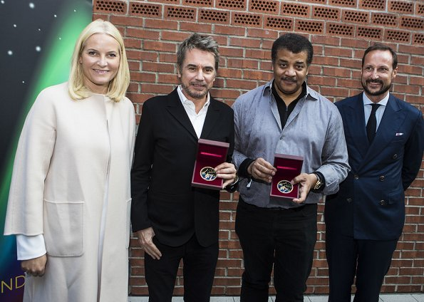 Crown Prince Haakon, Princess Mette-Marit, Jean-Michel Jarre and Neil de Grasse Tyson attend Starmus Festival 2017.Stephen Hawking Medal