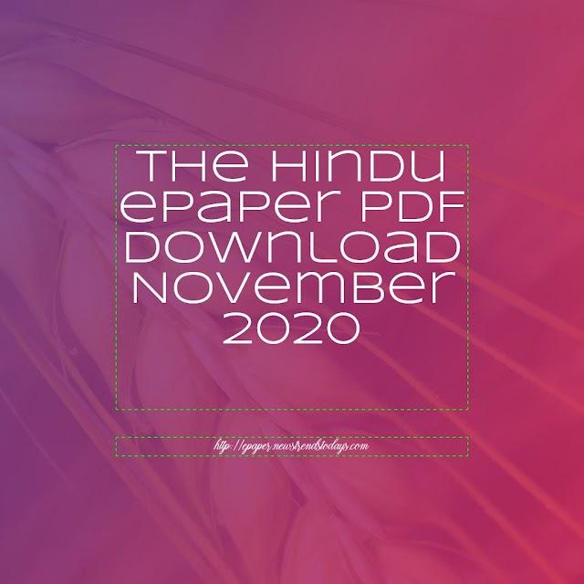 The Hindu ePaper PDF Download November 2020