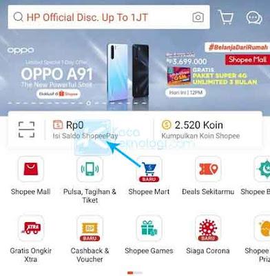 Cara Top Up atau isi saldo ShopeePay lewat ATM Mandiri atau aplikasi m-banking Mandiri Online dengan mudah.
