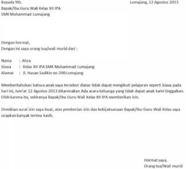 Contoh Surat Izin Sekolah Karena Urusan Keluarga (via: suratresmi.net)