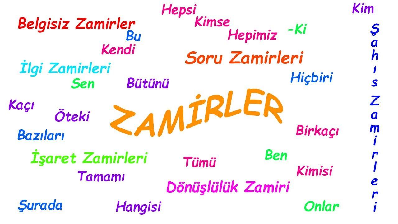 تعليم الضمائر اللغة التركية