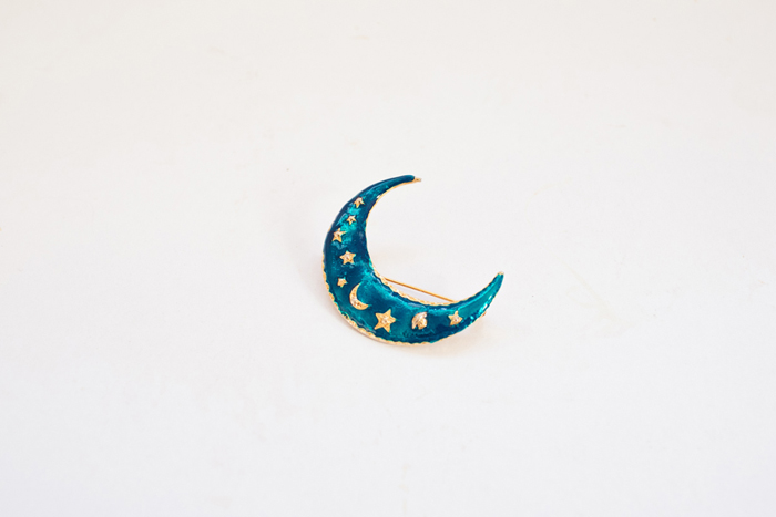 thrifted moon crescent brooch