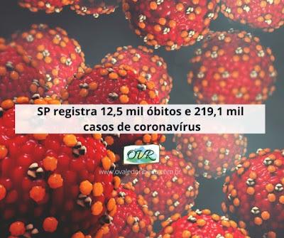 SP registra 12,5 mil óbitos e 219,1 mil casos de coronavírus.