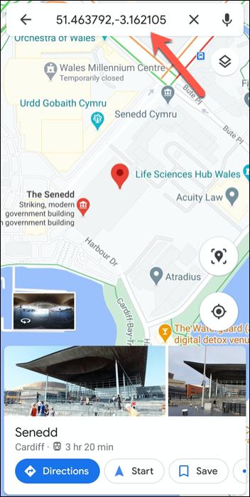 إحداثيات GPS للبرلمان الويلزي بالمملكة المتحدة في تطبيق خرائط Google على Android.