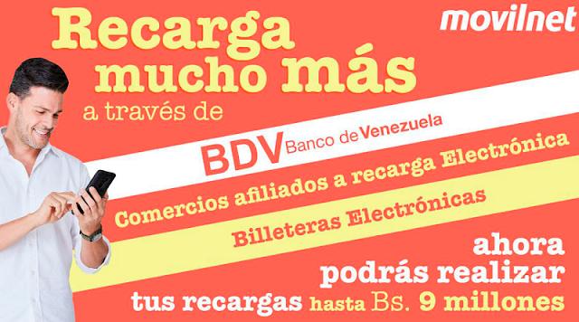 MOVILNET AUMENTÓ EL MONTO MÁXIMO DE SU RECARGA POR EL BDV Y BILLETERAS ELECTRÓNICAS