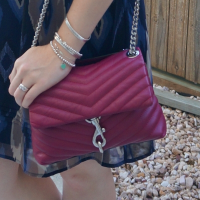 Rebecca Minkoff Edie small crossbody bag in magenta | away from the blue blue