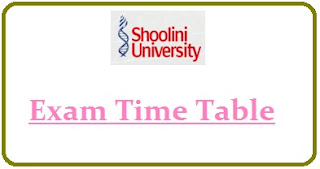 Shoolini University Exam Date Sheet 2020