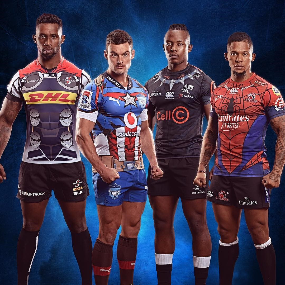 Super Rugby 2019 - Marvel Super Hero Kits - Stormers, Bulls, Sharks, Lions - Thor, Captain America, Black Panther, Spiderman