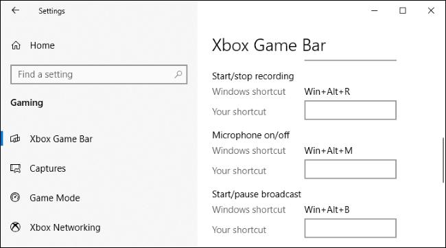 الإعدادات> الألعاب> نافذة Xbox Game Bar في نظام التشغيل Windows 10.