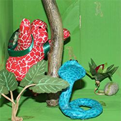 Tableau gorille, cobra et crocodile dans la jungle