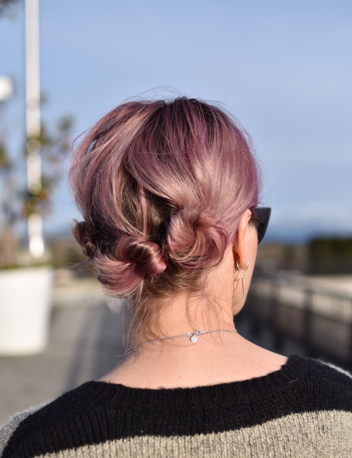 Monika Faulkner outfit inspiration - pink hair updo