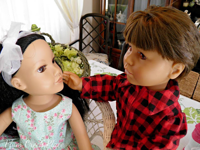 18 inch Dolls, Doll clothes, Doll Party, Boy Doll Haircut, Convert girl doll to a boy doll, Saint Patrick's Dall Doll party and tablescape,