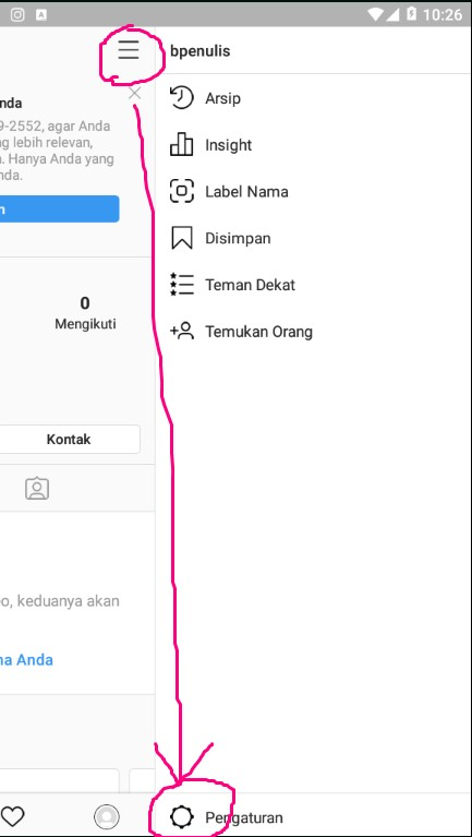 Menu Settings/ Pengaturan di Aplikasi Instagram.