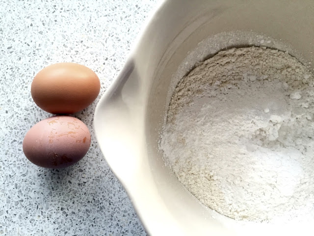 Eggs and flour for pancakes