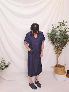 小眾生活壓線大口袋單寧藍洋裝小幫手實穿