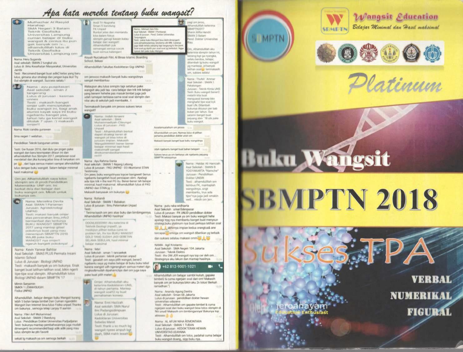 Buku Wangsit SBMPTN 2018 Sukses TPA (Verbal, Numerikal, Figural)