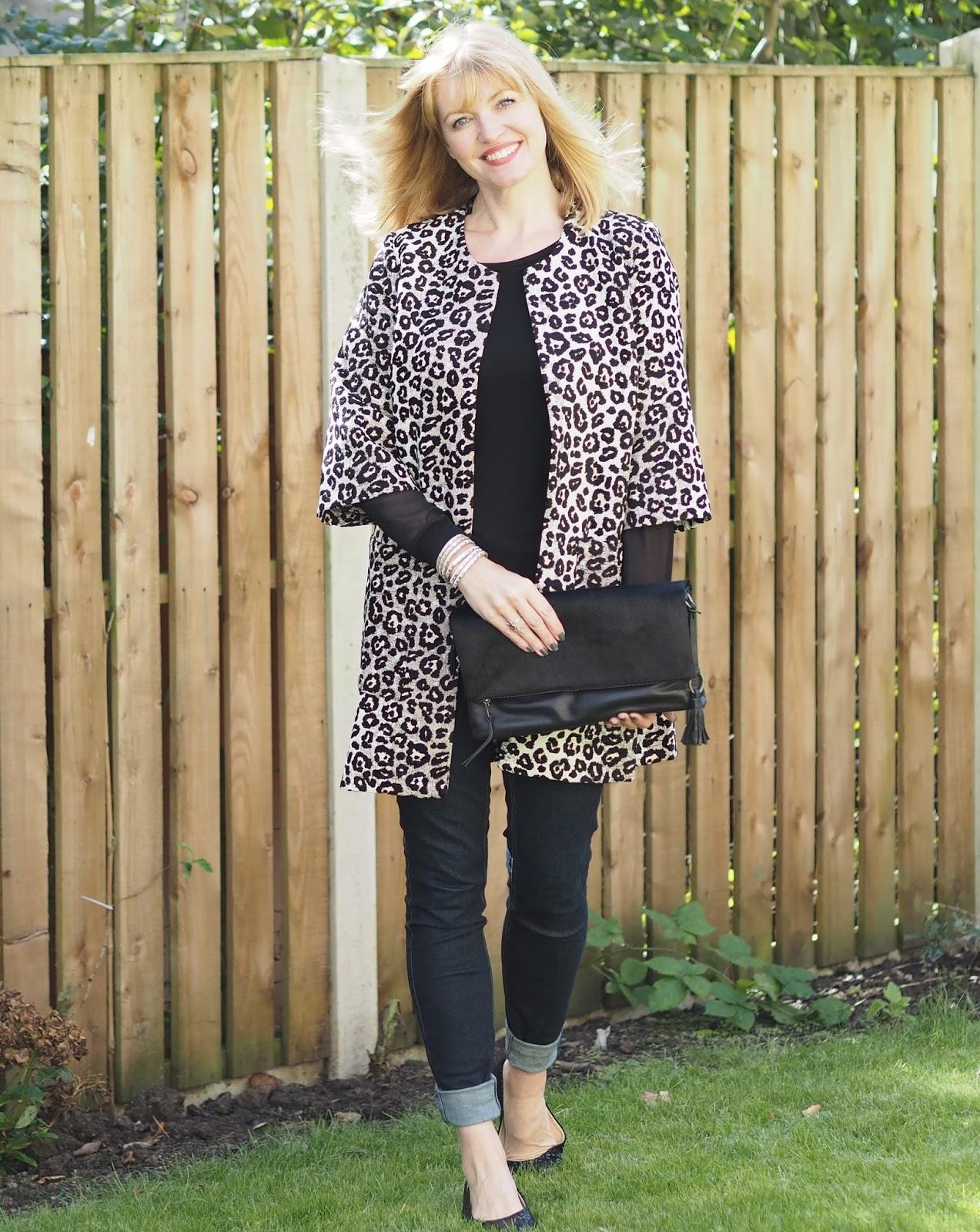 Animal leopard print jacquard jacket and skinny jeans